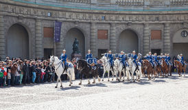 Changing of the guard near the royal palace. Sweden. Stockholm royalty free stock photo