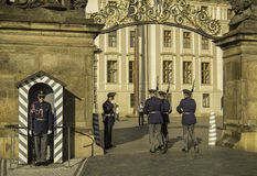 Changing of the guard in Prague castle Royalty Free Stock Photography