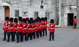 Changing of the Guard. QUEBEC CITY, CANADA – JULY 5. Canadian Forces, Royal 22e Regiment, Honor Guard perform the Changing of the Guards on July, 2013 at royalty free stock image