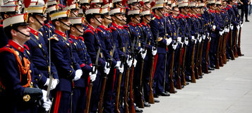 Changing of the Guard in Royal Palace. Madrid Royalty Free Stock Photo