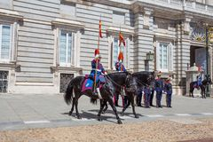Changing of the Guard at the the Royal Palace of Madrid, Spain. stock photos
