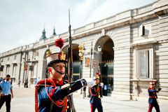 Changing of the Guard in Royal Palace at Madrid Royalty Free Stock Image
