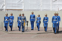 Changing of the guard at the Royal palace, Stockholm stock photography
