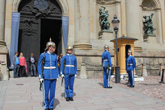 Changing of the guard at the Royal palace, Stockholm royalty free stock photography