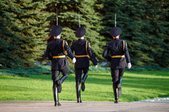 Changing guard soldiers in Alexander's garden near eternal flame Royalty Free Stock Images