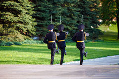 Changing guard soldiers in Alexander's garden near eternal flame Stock Photography