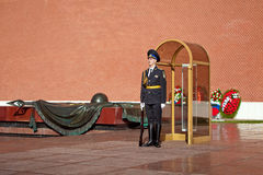 Changing guard soldiers in Alexander`s garden near eternal flame in Moscow, Russia Stock Photo