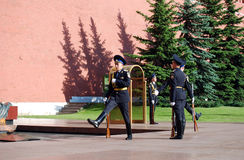 Changing of the guard at the Tomb of the Unknown Soldier in Aleksandrovsk to a garden. Moscow Royalty Free Stock Image