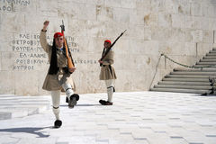 Changing the Guards. Guards changing in Athens, Greece Royalty Free Stock Photos
