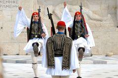 The Changing of the Guards in Athens Greece royalty free stock photo