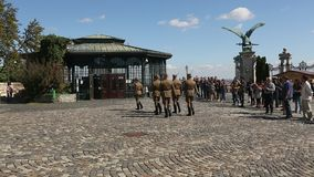 Changing of the Guards by the Hungarian Presidential Palace in the Buda Castle District in Budapest. stock video footage