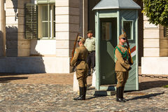 Changing of the Guards by the Hungarian Presidential Palace in the Buda Castle District in Budapest. Stock Image