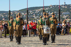 Changing of the Guards by the Hungarian Presidential Palace in the Buda Castle District in Budapest. Stock Photography