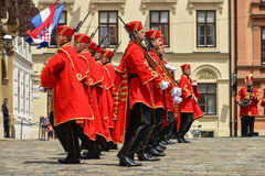 Changing of Guards at St Mark`s Square in Zagreb, Croatia Stock Image