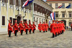 Changing of Guards at St Mark`s Square in Zagreb, Croatia Royalty Free Stock Images