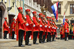 Changing of Guards at St Mark`s Square in Zagreb, Croatia Stock Photos