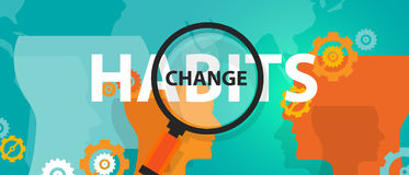 Changing habits old with new concept of focus analysis vector illustration