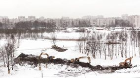 The changing landscape in the winter. The arrangement of the Park. Russia St. Petersburg 06.02.18 stock footage