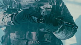 Changing magazine kalashnikov assault rifle. Soldier holding kalshnikov rifle stock video
