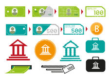 Changing Paper Cash into Digital Currency to transact business. Editable Clip Art. Icons of money and banking in traditional and digital forms Stock Photo