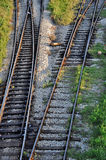 Changing railroad tracks. Railroad tracks with a switch for changing lanes Stock Images