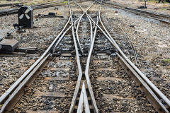 Changing railway tracks royalty free stock photos