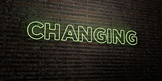 CHANGING -Realistic Neon Sign on Brick Wall background - 3D rendered royalty free stock image Stock Photography