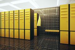 Changing room. Bright gym changing room interior. 3D Rendering Royalty Free Stock Images