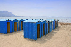 Changing rooms. A group of beach changing rooms Stock Photo