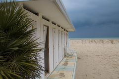 Changing rooms by the sea. View of cabins by the sea just before the storm Stock Photography