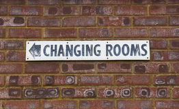 Changing Rooms Sign. A changing Rooms sign on a wall stock photo