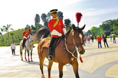 Changing of royal guard  at national palace. The royal guard on horse in front of the Malaysia national palace, waiting for the changing of the guard and Royalty Free Stock Photos