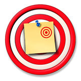 Changing The Rules. Of the game business concept as a dart target board and a paper office note with a small drawing of a new target posted on the circular Stock Image