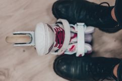 Roller skates and shoes stock images
