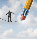 Changing Strategy. Business concept with a businessman walking on a high wire tight rope that is being erased by a pencil eraser as an icon of conquering new vector illustration