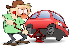 Changing Tires. A frustrated man using a jack to change a punctured tire on his red car. RGB  illustration with shades and shadows on separate layers Royalty Free Stock Image