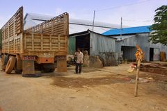 Changing of truck tyres in Cambodia Royalty Free Stock Photography