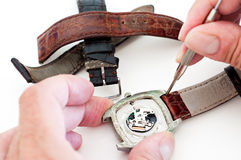 Changing watch strap stock image