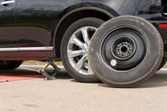 Changing the wheel on a car Royalty Free Stock Image