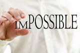 Changing word Impossible into Possible. By minimizing letters un Stock Photo