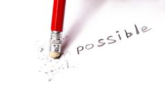 Changing  the word impossible to possible. Stock Images
