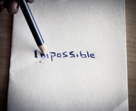 Changing the word impossible to possible Royalty Free Stock Photos