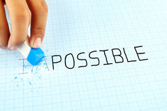 Changing the word impossible to possible. Royalty Free Stock Photography
