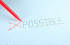 Changing the word impossible to possible Stock Photos