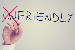 Changing the word Unfriendly into Friendly Stock Photos