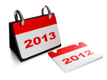 Changing the years 2012 to 2013 calen. 3d illustration: New Year. Changing the years 2012 to 2013 calendar isolation sheet Stock Photos