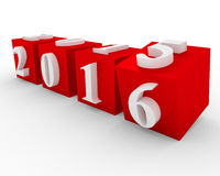 Changing years on red cubes. Changing years. 2015 changes in 2016 on the red cubes stock illustration