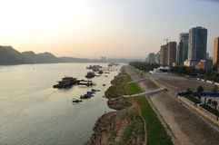 Changjiang river levee Stock Photo