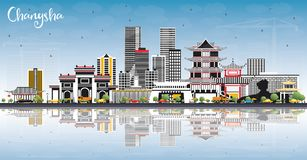 Changsha China City Skyline with Gray Buildings, Blue Sky and Re vector illustration