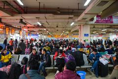 Changsha, China - January 9, 2015 : Waiting bus in the bus terminal at Changsha.  stock photos